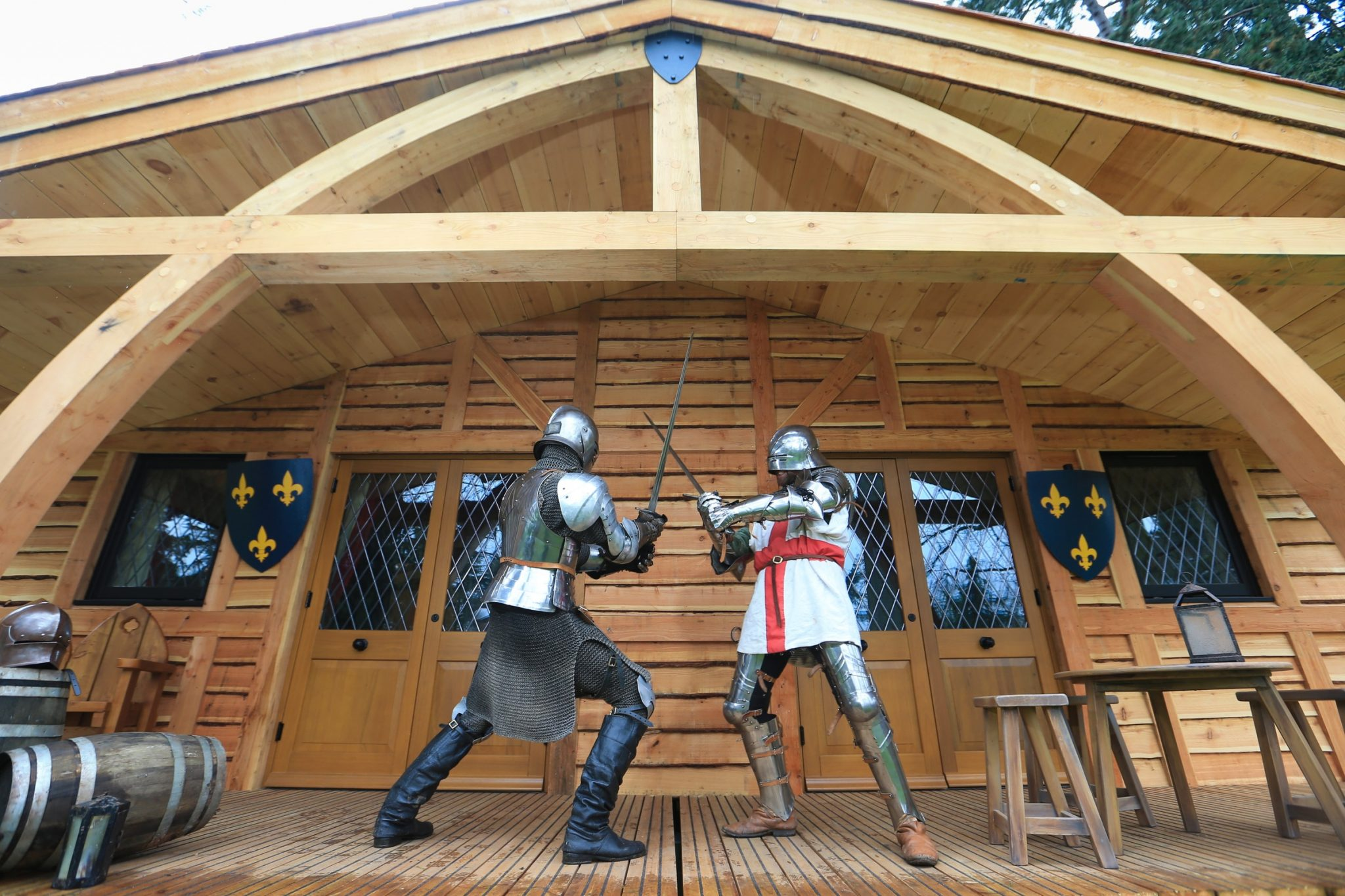 22/04/16 George practises sword fighting with another knight. Celebrate Like St George with a 'Good Knight's Sleepí Have you ever wondered what St George did in the few hours before he ventured forth to slay the dragon? Well, the team at Warwick Castle have come up with a tongue-in-cheek look at how he may have prepared for his big day. Staying in one of the Castle's new Knightís Village lodges, the valiant St George would probably have started by getting an undisturbed and comfortable 'knight's sleep', perhaps with the help of a wee nightcap to calm his nerves. And, of course, he would need to squeeze in some essential night-time reading, tooÖwith his favourite book, ìHow to Train Your Dragonî. In the morning, he would no doubt have pampered himself in a luxury bathroom, quickly fitted in his daily yoga and enjoyed a slap-up breakfast before ironing his chain mail, polishing his armour and practicing his sword-fighting and equestrian skills, before downing a pint and charging off on horse-back to slay the dragon. All that and still be home in time for tea and hot cross buns. No wonder he needed that 'Good Knightís Sleep'! Guests enjoying a similar sleepover in the new themed lodges can enjoy a riverside setting within Warwick Castlesí grounds and entry to the Castle and its attractions, together with action-packed evenings filled with free entertainment: have-a-go archery, learning jester skills, and knight school. Further information is available online at www.warwick-castle.com/sleepovers Bookings are now being taken for stays from Friday, July 1. Rights Reserved: F Stop Press Ltd. +44(0)1335 418365 www.fstoppress.com.